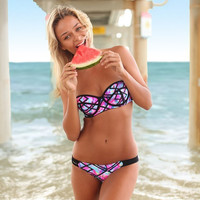 Sexy bandeau bikini set print push up bikini women's swimwear underwire strapless bikini 2016 push up swimsuit maillot de bain