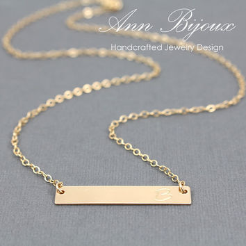 Personalized Name Bar Necklace, 14K Gold Filled Bar Necklace, Hand Stamped Bar Necklace, Gold Filled Initial Jewelry, Mother Necklace