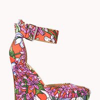 FOREVER 21 Tropical D'Orsay Wedges Red/Green 8
