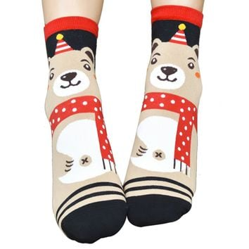 3D Women's Cat Footprints Cotton Socks Floor