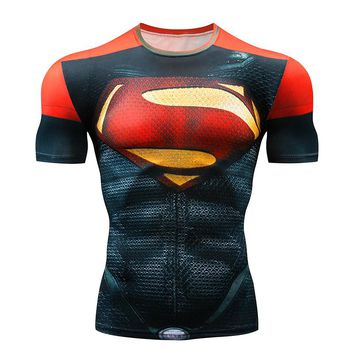 Marvel Superhero Compression shirt Men Women Cycling Base Layers Bicycle Short Sleeve Shirt Highly Breathbale Underwear Jersey