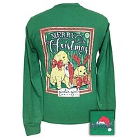 Girlie Girl Preppy Christmas Puppies Holiday Long Sleeve T-Shirt