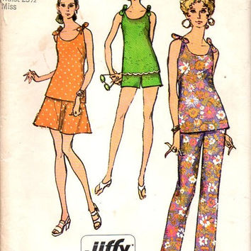 Retro 70s Sewing Pattern Simplicity 8841 Straight Leg Pants Summer Shorts Tie Shoulder Tunic Shirt Blouse Bust 34