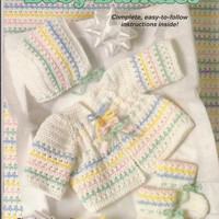 Baby Bundles crochet pattern booklet 6 baby outfits hats, booties, jackets, blanket, romper size 3 months 6 months 9 months