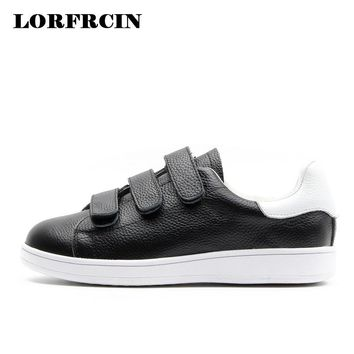 New 2017 Spring Summer Genuine Leather Shoes Woman hook&look Flat Women Shoes White Hot Sales Ladies Loafers Zapatos Mujer