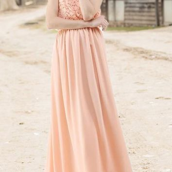 Pink Draped Lace Spaghetti Strap Flowy Bohemian Bridesmaid Banquet Elegant Party Maxi Dress