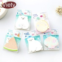 1 x polar bear shell stand memo pad sticky notes paper sticker notepad kawaii stationery pepalaria office school supplies