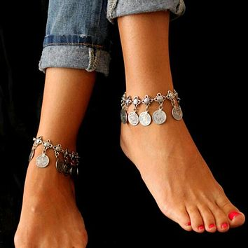 Women Summer Style Bohemian Anklet with Luxury Charm Coin