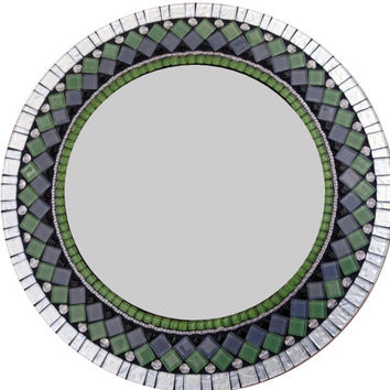 Decorative Wall Mirror, Green Silver Black Mixed Media Mosaic Mirror, Large Round Mirror, Wall Art
