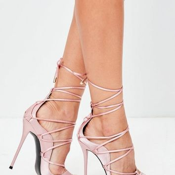 Mista Demon Strappy Lace Up High Heel Shoe Satin Pink Blush