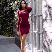 Autumn Winter Velvet Dress Sexy Solid Color O Neck Bodycon Mini Long Sleeve Dress Cut-out Hemline Split Slim Fit Package Dresses