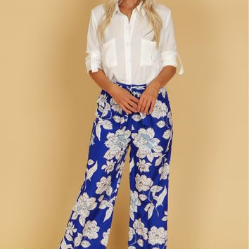 Floral Print Tie Trousers Blue