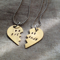 Best Friends Heart Necklace Set - Hand Stamped Brass or Copper Heart- Pick your Chain Type