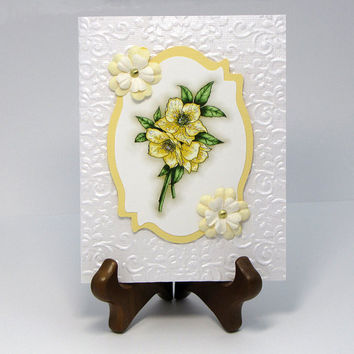 Mother's Day Card - Pale Yellow card - Handmade - Greeting Card - pale yellow and white  - handcrafted - Birthday card - glittered - custom