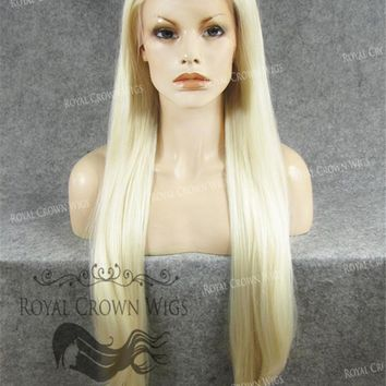 """30"""" Heat Safe Synthetic Straight Lace Front """"Hera"""" in White Blonde Mix"""