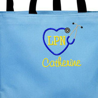 Nurse Heart Stethoscope Monogrammed Tote Bag. Registered Nurse Bag, Nursing Student Bag, Co-Worker Gift,  Nursing School Graduation Gift