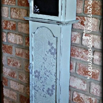 Shabby chic grandfather clock storage cabinet, grandfather clock, painted grandfather clock pantry, grandfather clock, painted chalkboard