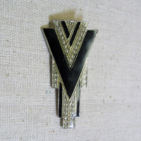 Art Deco Style Brooch Pin, Black and Silver, 1980s