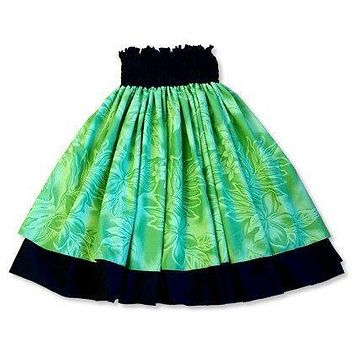 plumeria shadow green hawaiian double pau hula skirt