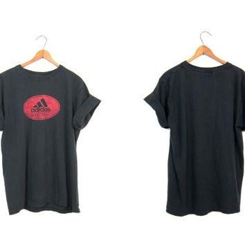 ADIDAS tshirt 90s black and red tee shirt Grunge Punk Faded Worn In Work Out shirt Wom