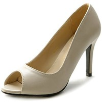 Ollio Women's Shoe Open Toe High Heel Basic Pump