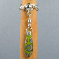Chartreuse Peacock Arrow Sterling Silver Ear Cuff Lobe Enhancer or Choose your Bead yellow green lime