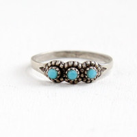 Vintage Sterling Silver Turquoise Blue Triple Stone Ring - Retro Southwestern Native American Style Jewelry