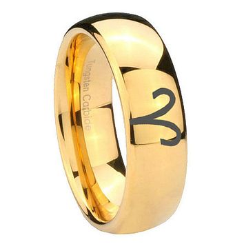 8mm Aries Zodiac Dome Gold Tungsten Carbide Personalized Ring