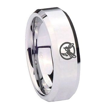 8mm Honey Bee Beveled Edges Silver Tungsten Carbide Mens Ring Personsized