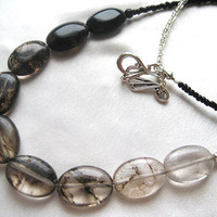 Bold statement ombré tourmalated quartz necklace. Long, layering necklace. Black, white, silver tourmaline. October birthstone. Yin & Yang