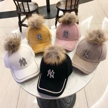 """New York Yankees"" Autumn Winter Fashion Diamond Letter Hairball Baseball Cap Women Peaked Cap Sun Hat"