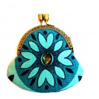 Coriandr / ever87 / Floral/blue bark cloth rhinestone clasp purse