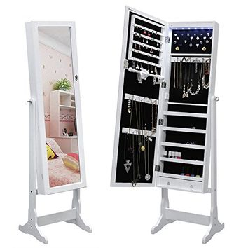 SONGMICS Lockable Jewelry Cabinet Standing Jewelry Armoire Organizer with Mirror LED Light, White UJJC94W