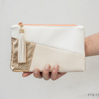 The Julia Clutch | Gold, White, Ivory