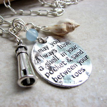 Long Coastal Necklace with Beach Quote, Lighthouse and Shell Charms