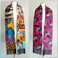 Reversible | Graduation | Stole | African |  batik | quilted | Egyptian | gold | fringe | 79 inches long | Kente cloth | handmade |