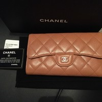 NWT Chanel Wallet in Light Brown Caviar