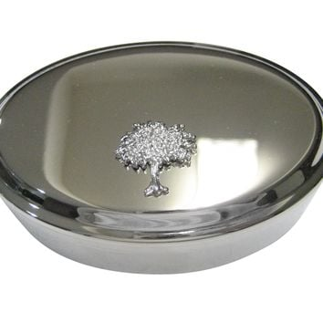 Silver Toned Full Tree Design Oval Trinket Jewelry Box