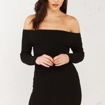 Off The Shoulder Ribbed Dress in Black and Cream