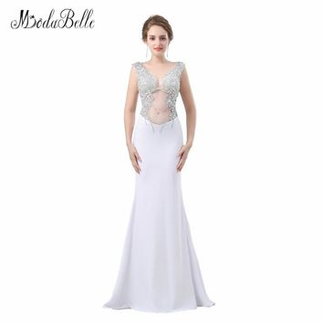 modabelle Backless See Through Prom Dresses Sexy 2018 Collection Robe De Bal Femme Longue Rhinestones Long Mermaid Evening Gowns