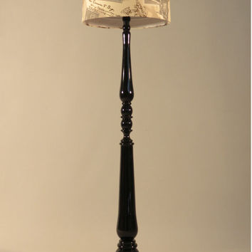 Handmade Floor lamp,stylish wooden stand painted in black color, drum lampshade, different colors lampshade,model Joana
