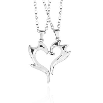 2PCS Trendy Best Friend Necklace Jewelry Love Heart Pendant Silver Dragon Necklaces Couples Necklace For Lovers' Gift Men Women