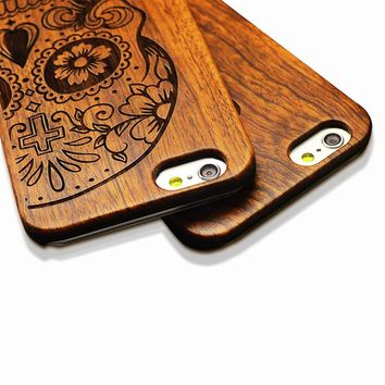 6 Retro Nature Embossed Wood Phone Cases For iPhone 5 5s SE 6 6s 7 Plus Funda Novel Carving Wooden Case PC Cover Hard Shell Capa