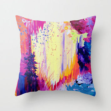 IN TIMES of CHAOS - Decorative Art Pillow Cover 18 x 18, Bold Beautiful Fine Art Throw Cushion Whimsical Eggplant Plum Purple Waves Feathers