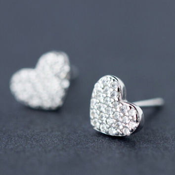 womens girls retro artistic heart-shaped earrings 925 sterling silver + free gift box- 24