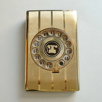 Address Book  Rotary Phone Dial  A Name Index  Gold Tone Flip Top Pop Up Organizer Vintage 1970's