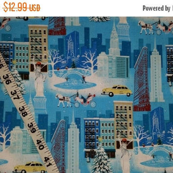 New York City Christmas fabric Central Park Carriage Statue of Liberty landscape cotton print quilt sewing material sew by the yard craft