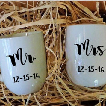 Mr. and Mrs. Mugs, His and Hers Gift, Holiday Gift Set, White Mug, Gift for Couple, Wedding Present, Christmas Gift