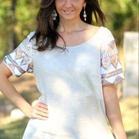 Now n Forever Brand Oatmeal Pocketed Top with Sequined Sleeves