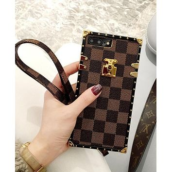 LV Louis Vuitton iPhone 7 iPhone 7 plus - Popular Women Men  Grid Print Cute On Sale Hot Deal Matte Couple Phone Case For iphone 6 6s 6plus 6s plus